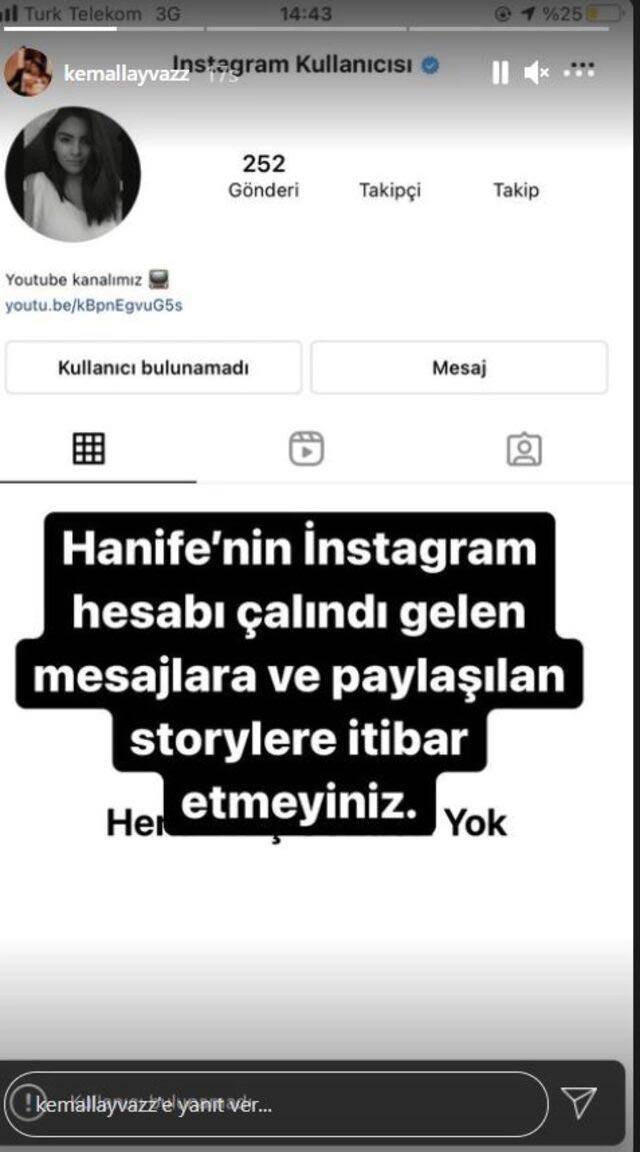 Gelin adayı Hanife Gürdal'ın  Instagramı hacklendi
