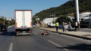 Alanya'da kamyon ile motosiklet çarpıştı! Sürücü metrelerce sürüklendi