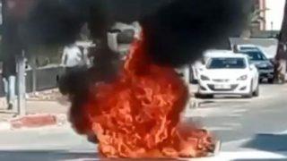 Antalya'da motosiklet yol ortasında cayır cayır yandı!