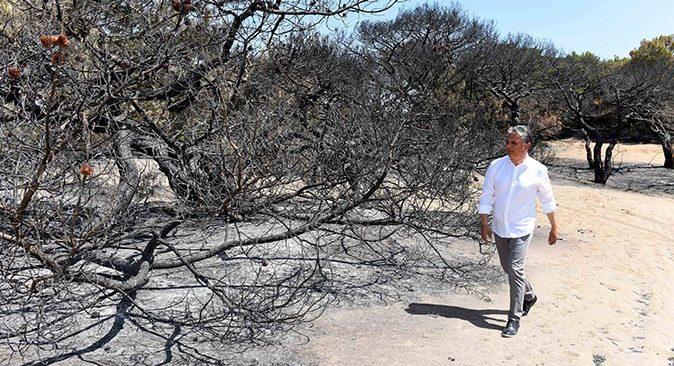 Başkanı Ümit Uysal, Lara'daki yangın bölgesinde incelemelerde bulundu