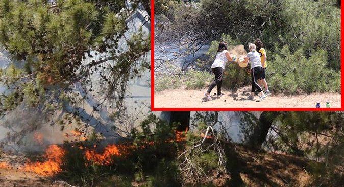 Antalya'da ormanlık alan cayır cayır yanıyor! Vatandaşlar seferber oldu