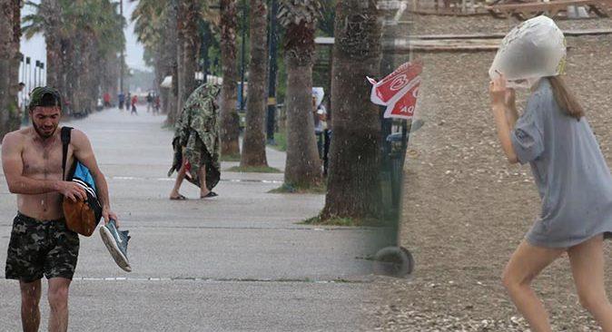 Antalya'da sağanak yağmur hazırlıksız yakaladı! Kaçacak yer aradılar