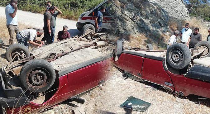 Antalya'da otomobil şarampole uçtu! Sürücü yaralandı