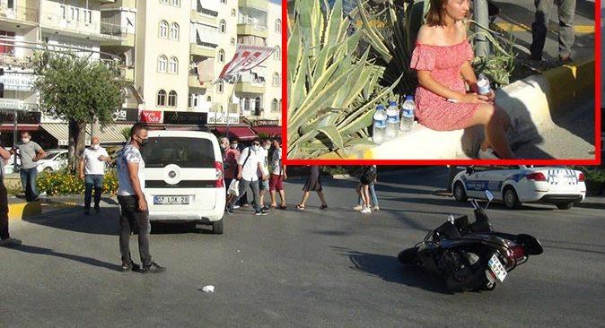 Manavgat'ta otomobille motosiklet çarpıştı! Sürücü gözyaşlarına boğuldu