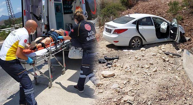 Antalya'da yoldan çıkan araç takla attı! Gülşen Bilgen ve kızı Şadiye Bilgen yaralandı