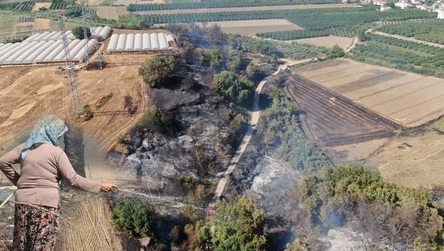 Antalya'da korkutan yangın! Alevleri söndürebilmek için kadın, erkek seferber oldu
