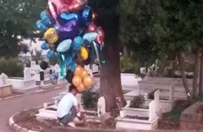 Antalya'da mezarlığa balon bırakan Sait Kocatepe'nin hikayesi yürekleri burktu