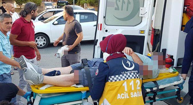 Antalya'da motosiklet devrilerek sürüklendi