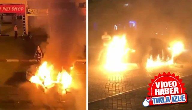 Antalya'da yanan otomobildeki can pazarı güvenlik kamerasında