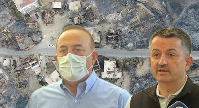 Bakan Bekir Pakdemirli ve Bakan Mevlüt Çavuşoğlu Manavgat ve Akseki yangınlarına ilişkin son durumu paylaştı