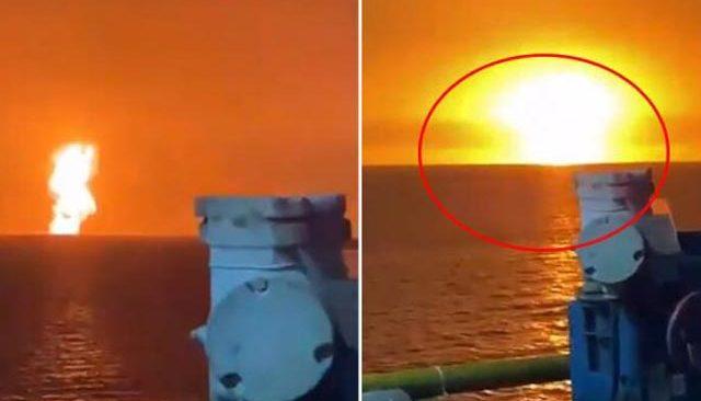 Hazar Denizi'nde çok büyük patlama! Atom bombasını andırdı, gökyüzü kızardı