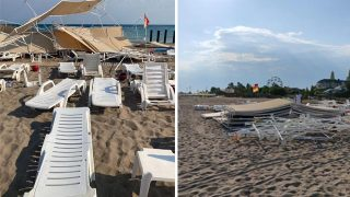 Antalya'da biranda ortaya çıktı! Hortum sahili vurdu...
