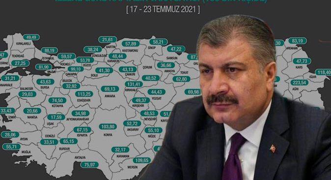 Sağlık Bakanı Fahrettin Koca vaka haritasını açıkladı!