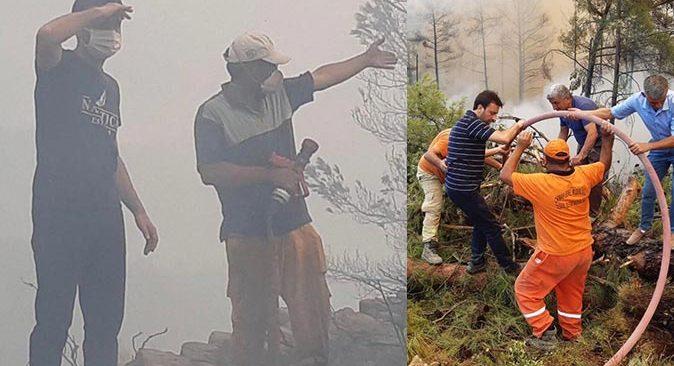 Antalya Milletvekili Mustafa Köse yangına karşı ekiplerle birlikte mücadele veriyor