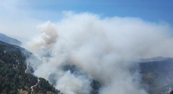 Köyceğiz'de başlayan yangınlar Denizli sınırına dayandı