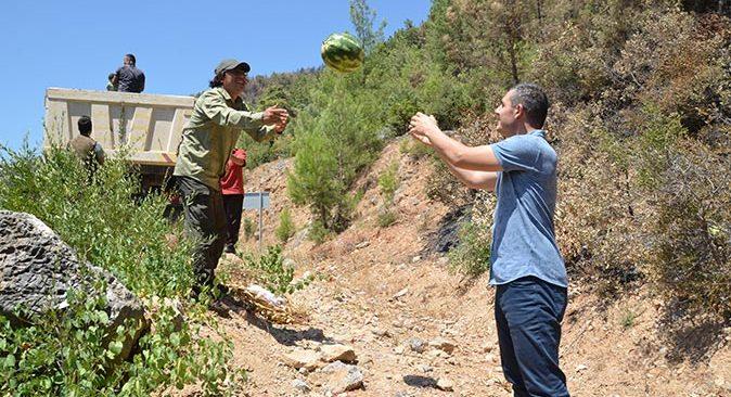 Gündoğmuş ilçesinde Milli Parklar alanına 10 ton karpuz bırakıldı