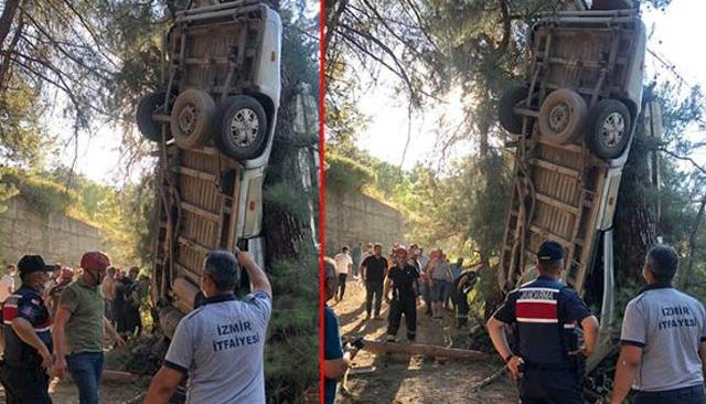 Son Dakika: İzmir' de servis minibüsü şarampole yuvarlandı: Ölü ve yaralılar var