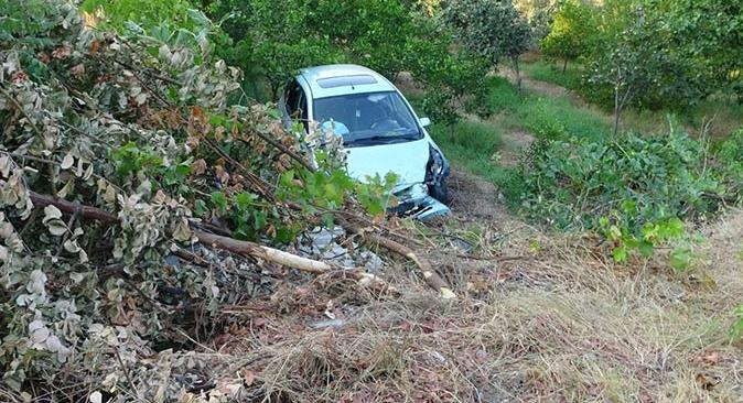 Manavgat'ta otomobil bahçeye uçtu