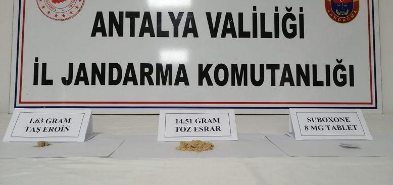 Antalya'da yol kontrol noktasında uyuşturucu ele geçirildi