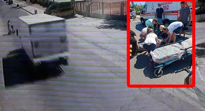Elektrikli bisiklet sürücüsüne kamyon çarptı
