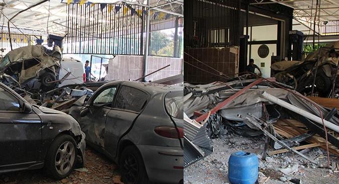 Antalya'da savaş alanına dönen iş yerinde 4 araç hurdaya döndü