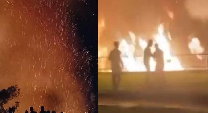 Yalım Parkta gece saatlerinde yangın çıktı