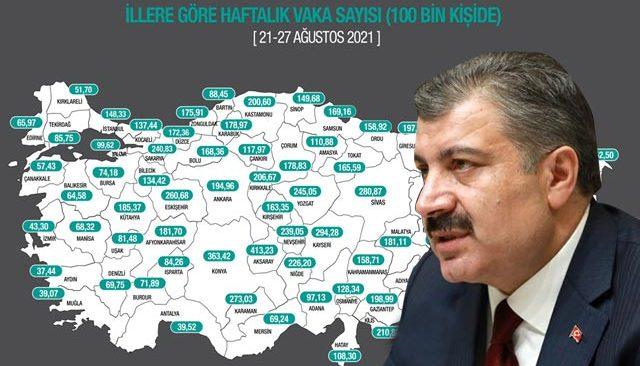 Son Dakika: İllere göre haftalık vaka haritası açıklandı... İşte Antalya'daki son durum!