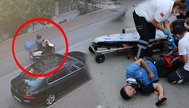 Taksiye çarpmamak için sürüklendi! Moto-kurye ölümden döndü