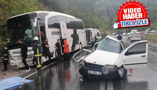 Manavgat yolcu otobüsüyle otomobil çarpıştı! Kazada flaş gelişme...