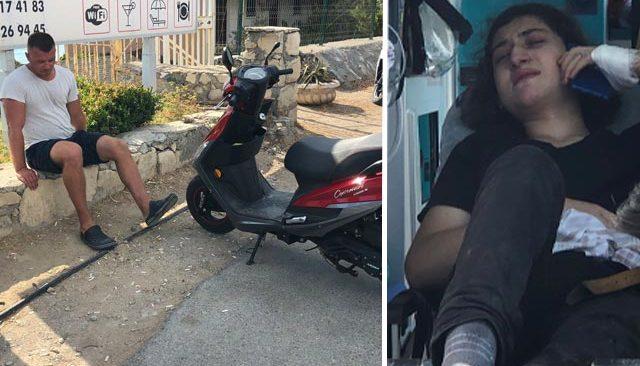 Rus turist, kiraladığı motosiklet ile patenli gence çarptı