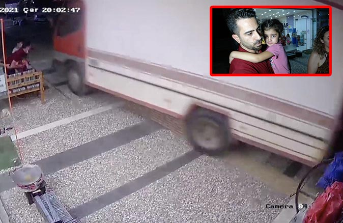 Antalya'da küçük kız freni boşalan kamyondan son anda kurtuldu