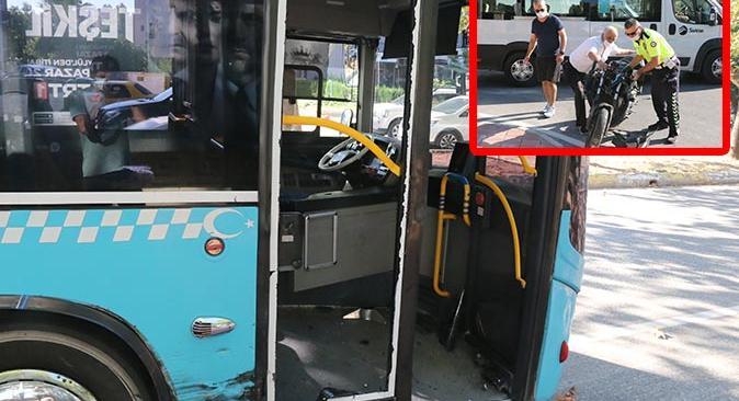 Antalya'da motosiklet ile halk otobüsü çarpıştı