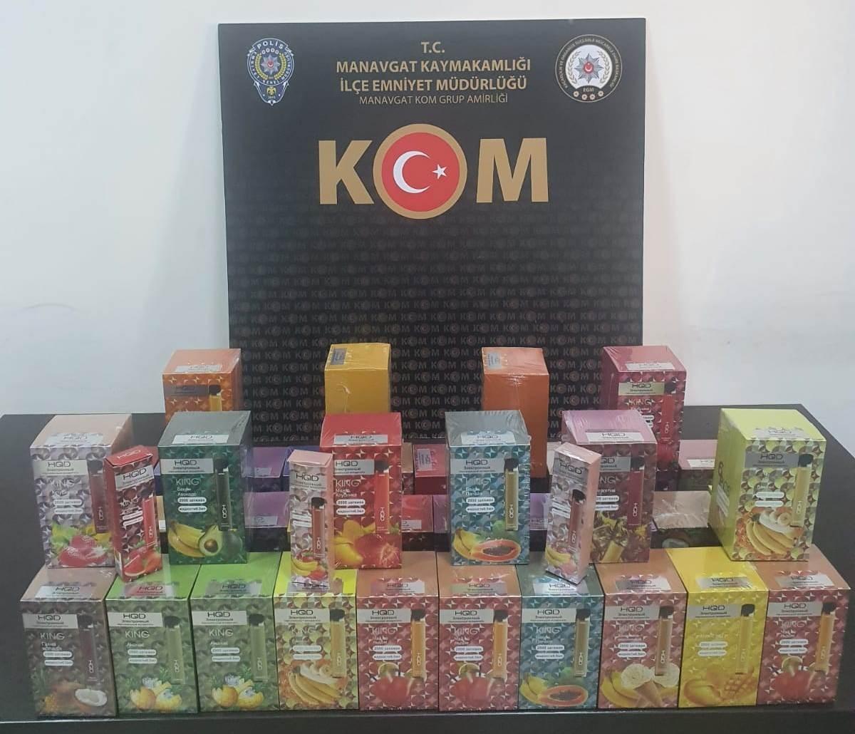 Manavgat'ta kaçak elektronik sigara operasyonu