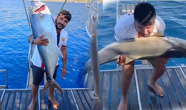 Boyu kadar balığı oltayla avlayan gençten güldüren tepki!